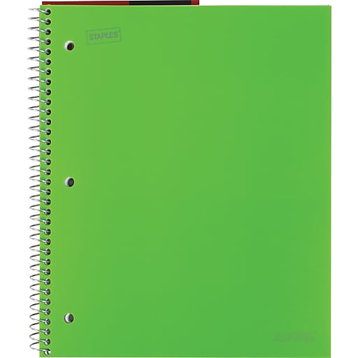 """Staples Accel Durable Poly Cover Notebook, College Ruled, Green, 8-1/2"""" x 11"""", 12 pack"""