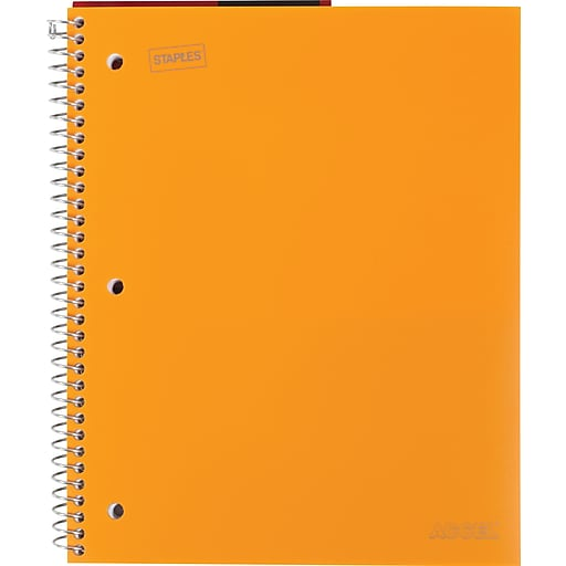 """Staples Accel Durable Poly Cover Notebook, Wide Ruled, Orange, 8-1/2"""" x 11"""", 12 pack"""