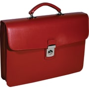 Royce Leather 'Kensington' Single Gusset Briefcase, Red