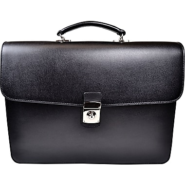 Royce Leather Kensington Single Gusset Briefcase, Black, Silver Foil Stamping, 3 Initials