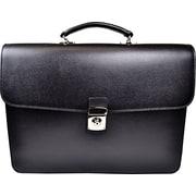 Royce Leather 'Kensington' Double Gusset Briefcase, Black