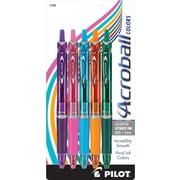 Pilot Acroball Colors Advanced Ink Pens, Medium Point, Assorted Barrels, Assorted Inks, 5/Pack (31808)