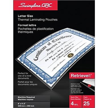 Swingline® - Pochette de plastification thermique RetrieveIt™, 9 po x 11-1/2 po, 4 mil, lettre, paq./25