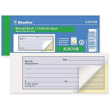 Blueline® Receipt Book, A2870B, Duplicates, Carbon, Staple Bound, 2-3/4