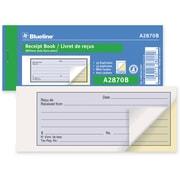 """Blueline® Receipt Book, A2870B, Duplicates, Carbon, Staple Bound, 2-3/4"""" x 6-3/4"""", Bilingual, 1-Up"""