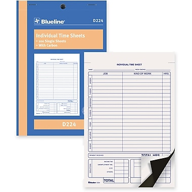 Blueline® - Feuilles de temps, D224, duplicatas, autocopiantes, agrafées, 5-3/8 po x 8 po, 100 feuilles, anglais