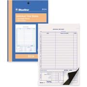 "Blueline® Timesheets, D224, Duplicates, Carbon, Staple Bound, 5-3/8"" x 8"", 100 Sheets, English"