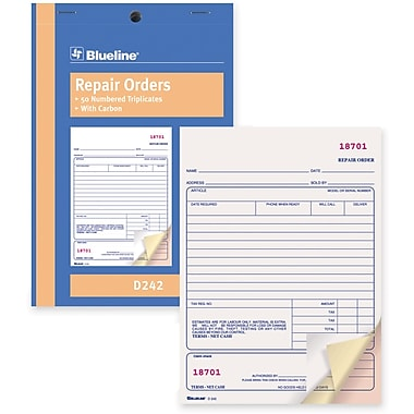 Blueline® Repair Order Forms, D242, Triplicates, Carbon, Staple Bound, 5-3/8