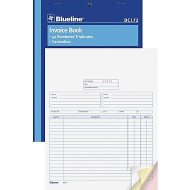 Blueline® Book Format Invoice Book, DC172, Triplicates, Carbonless, Staple Bound, 8-1/2