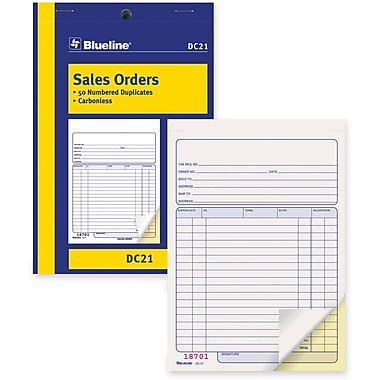 Blueline® Sales Order Form,Carbonless, Staple Bound, 5-3/8