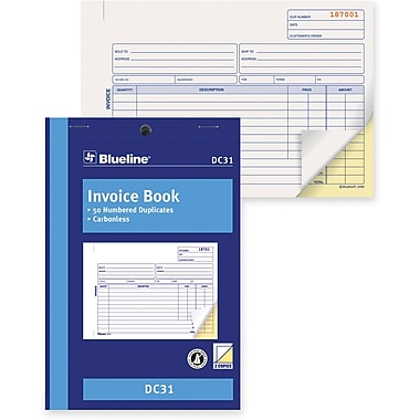 Blueline® Invoice Book, DC31, Duplicates, Carbonless, Staple Bound, 5-3/8