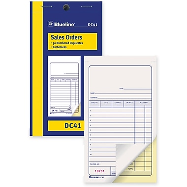 Blueline® Sales Order Form, Carbonless, Staple Bound, 3-1/2