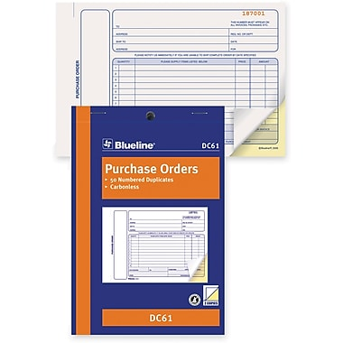 Blueline® Purchase Order Form, Carbonless, Staple Bound, 5-3/8