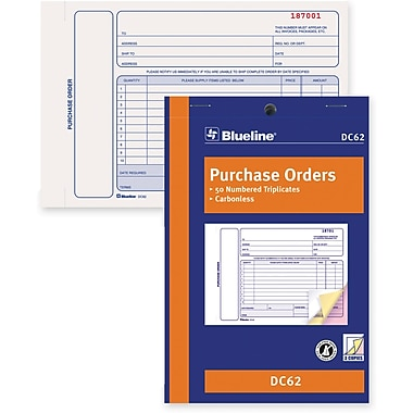 Blueline® Purchase Order Form, DC62, Triplicates, Carbonless, Staple Bound, 5-3/8