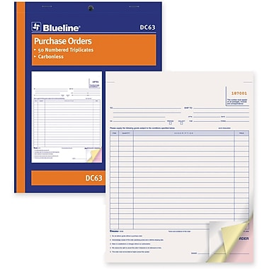 Blueline® Purchase Order Form, DC63, Triplicates, Carbonless, Staple Bound, 8-1/2