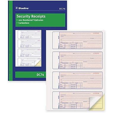 Blueline® - Livret de reçus de sécurité, DC74, duplicatas, autocopiant, relié par agrafes, 11 po x 8 po, anglais, 4 par page
