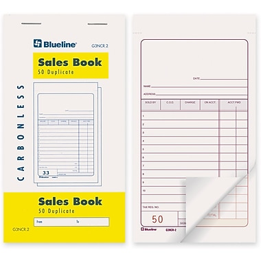Blueline® Sales Book, G3NCR2, Duplicates, Carbonless, Staple Bound, 3-1/2