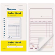 "Blueline® Sales Book, G3NCR2, Duplicates, Carbonless, Staple Bound, 3-1/2"" x 6"", English, 10/Pack"