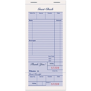 Blueline® Restaurant Guest Check Pad, Staple Bound, 3-3/8