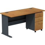 "Bush Cubix 60""W Desk with 3 Drawer Mobile Pedestal, Natural Cherry/Slate Gray"