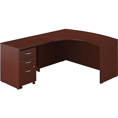 Bush Business Westfield 60W Left-Handed Bow Front L-Desk with Return Bridge and Mobile Pedestal, Cherry Mahogany