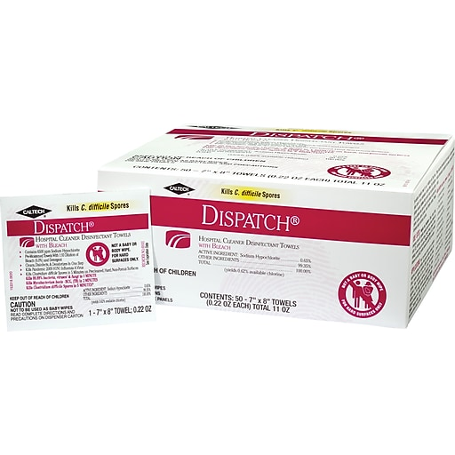 Dispatch Hospital Cleaner Disinfectant Towels with Bleach, 50 Count Box of Individually Packaged Towels, 6 Boxes/Case (69101)