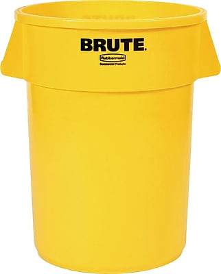 Rubbermaid® Brute® Waste Container without Lid, Round, 20 Gallons, Yellow, 27 7/8
