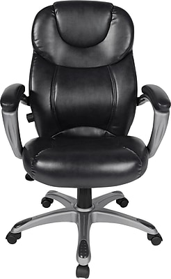 Comfort Products Granton Leather Executive Office Chair, Adjustable Arms, Black/Pewter (60-582105)