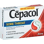 Cepacol® Extra Strength Sore Throat Oral Pain Reliever, Cherry, 16 Lozenges/Pack(63824-71016)