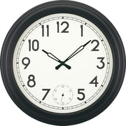 "18"" Gallery Style Quartz Clock with Second Sweep Movement, Black"