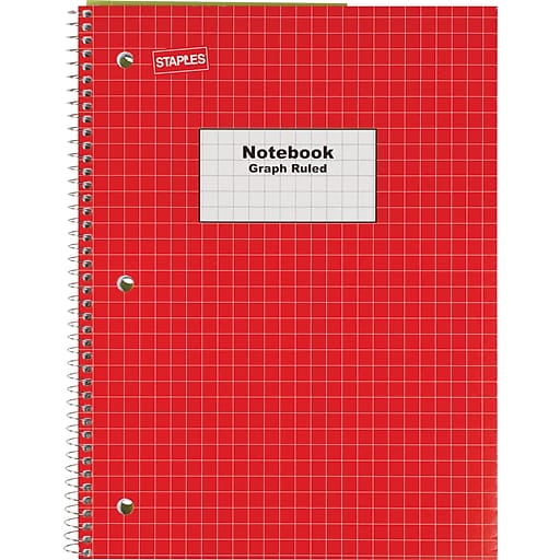 staples graph ruled 4x4 spiral notebook 8 x 10 1 2 red staples