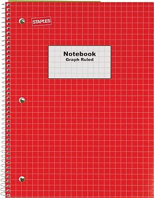 staples u00ae graph ruled 4x4 spiral notebook  8 u0026quot  x 10 2 u0026quot   red
