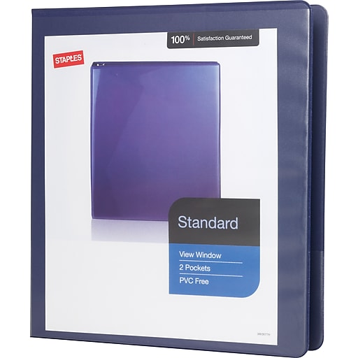 staples standard 1 inch slant d 3 ring view binder blue 24621