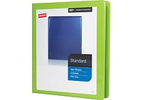 1' Staples® Standard View Binder with D-Rings, Bright Green