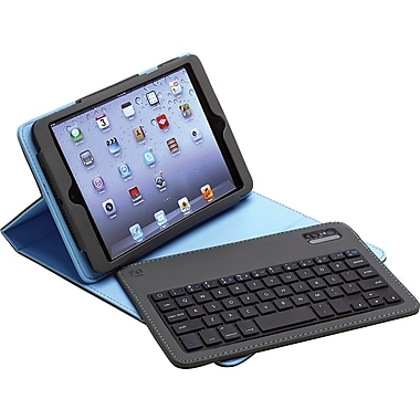 Aduro Facio Case with Bluetooth Removable Keyboard for iPad Mini, Silver/Blue