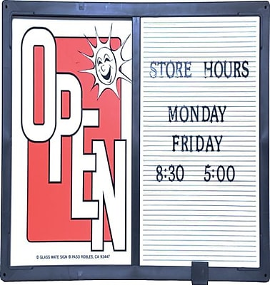 "Open/Closed Sign W/ Message Board, Horizontal, 20""W x 14""H, Black"