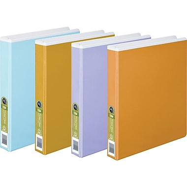 Wilson Jones Tinted View 1-Inch Round Ring Binder, White with Assorted Color Overlay (W68552)