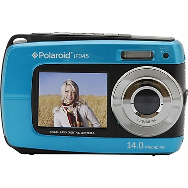 Polaroid IE090-BLU 14.1 MP Dual Screen Waterproof Digital Camera, 5X Digital Zoom, Blue
