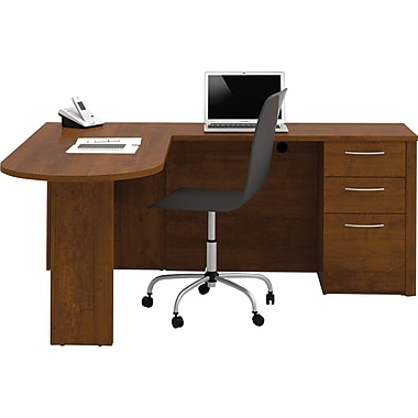 Bestar Embassy L-Workstation with Pedestal, Tuscany Brown