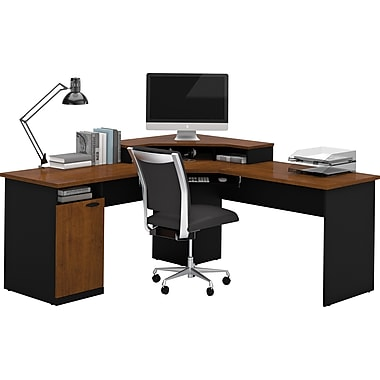 office computer desk. bestar hampton corner lshaped home office computer desk tuscany brown u0026 black s