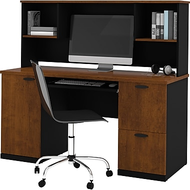 Bestar Hampton™ Office Computer Desk with Hutch, Tuscany Brown & Black