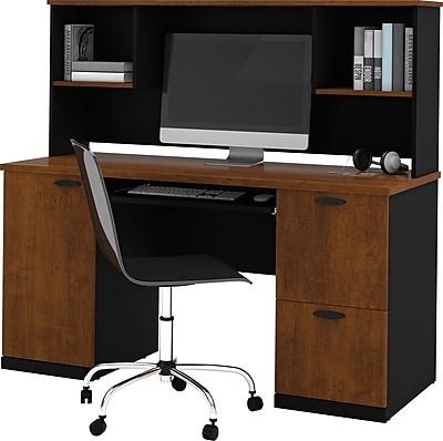 Bestar Hampton™ Office Computer Desk with Hutch, Tuscany Brown & Black