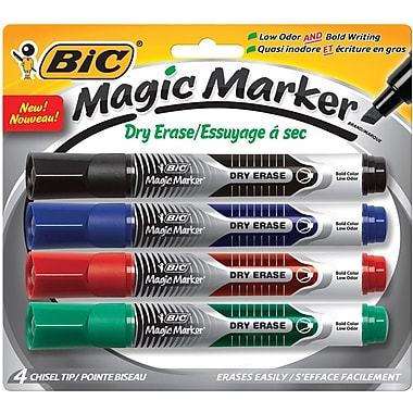 BIC Magic Marker® Brand Dry Erase Liquid Markers, Chisel Tip, Assorted, 4/Pack