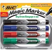 BIC - Marqueur Magic Marker® à encre liquide et essuyage à sec, pointe biseautée, couleurs variées, paq./4