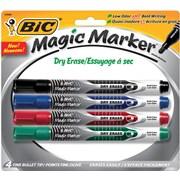 BIC - Marqueur Magic Marker® à encre liquide et essuyage à sec, pointe fine, couleurs variées, paq./4