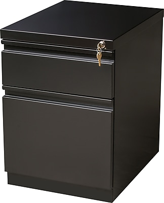 Staples 2-Drawer Heavy Duty Mobile Pedestal File Cabinet, Black (20-Inch)