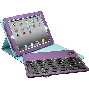 Aduro Facio Case with Bluetooth Removable Keyboard for iPad 2/3/4, Purple/Turquoise