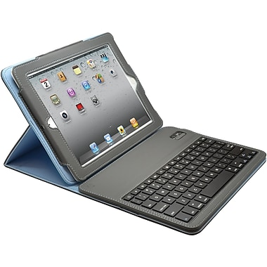 Aduro Facio Case with Bluetooth Removable Keyboard for iPad 2/3/4, Silver/Blue