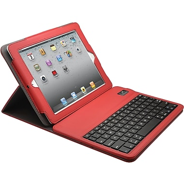 Aduro Facio Case with Bluetooth Removable Keyboard for iPad 2/3/4, Red/Grey
