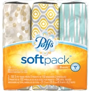 Puffs® Basic SoftPack Facial Tissues, 2-Ply, 132 Sheets/Box, 3/Pack (90428)